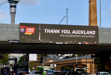 NZ firefighters say, 'Thank you, Auckland'.